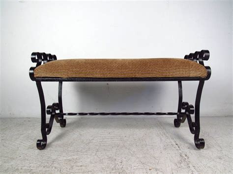 wrought iron bench seats black wrought iron bench with upholstered seat at 1stdibs