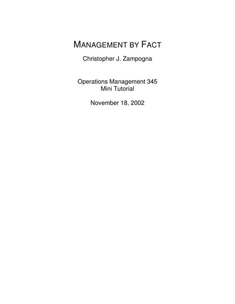 Management By Fact