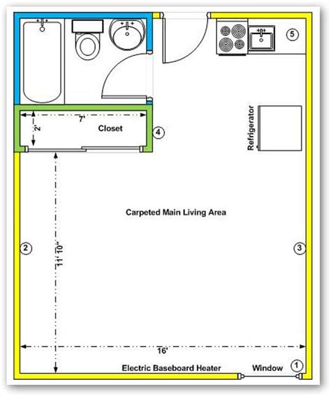 a typical floor plan for our studio apartments