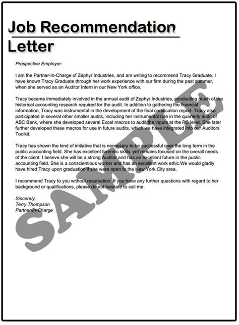 how to write a job recommendation letter sles