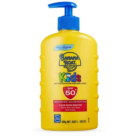 banana boat unscented sunscreen banana boat kids spf 50 large pump sunscreen 400g big w