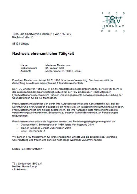 Zeugnis Schreiben Grundschule Muster Tsv Zeugnis F 252 R Ehrenamtliche Tsv Lindau 1850 E V