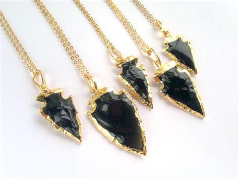 black obsidian arrowhead necklace arrowhead jewelry gold