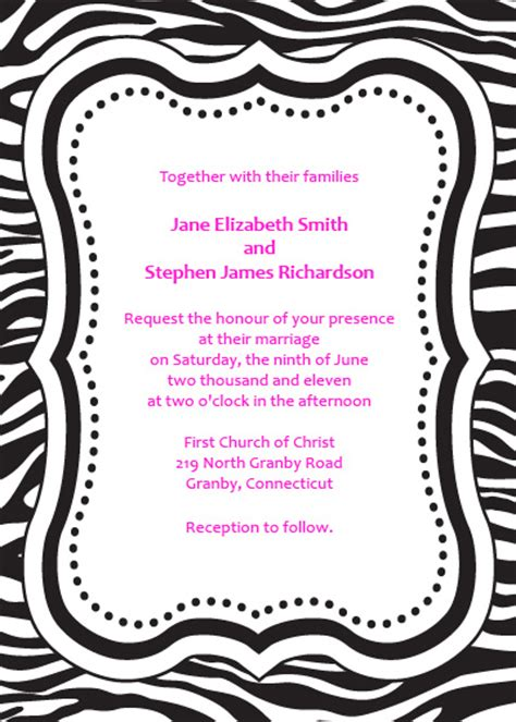 zebra print free invitation template wedding invitation