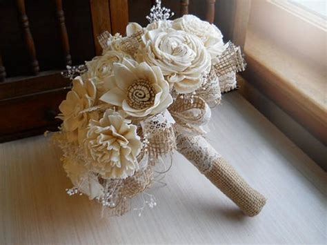 shabby chic style floral bouquet rustic shabby chic bouquet sola flowers burlap lace rustic shabby chic weddings made to