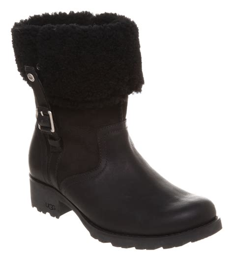 black leather ugg boots womens ugg australia bellevue 2 waterproof black leather