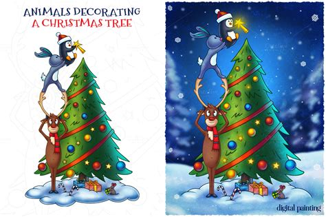 Themes For Decorating Christmas Trees - animals decorating a christmas tree illustrations on creative market