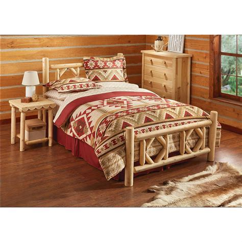 queen log bed castlecreek diamond cedar log bed queen 297898 bedroom