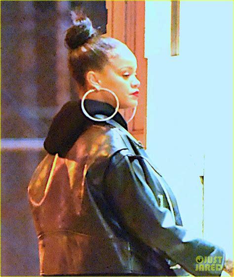 Rihanna Supersized Hoop Earrings by Rihanna Wears Hoop Earrings With Leather Jacket