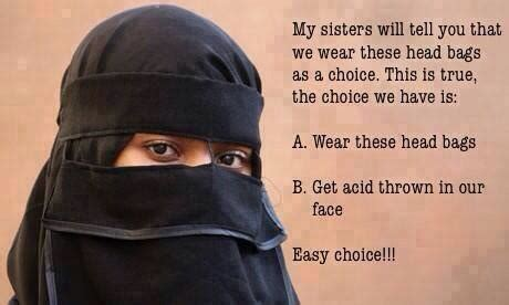 Burka Meme - wearing a niq艨b is a choice political humor