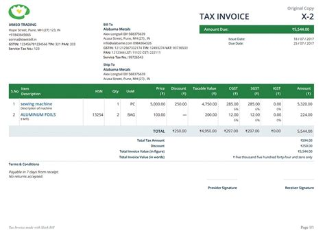 sle invoice of movers and packers gst invoice format and rules