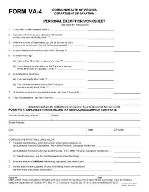 Printable Va W 4   virginia state form w 4 download