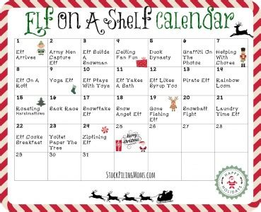 free printable elf on the shelf calendar elf on a shelf calendar printable