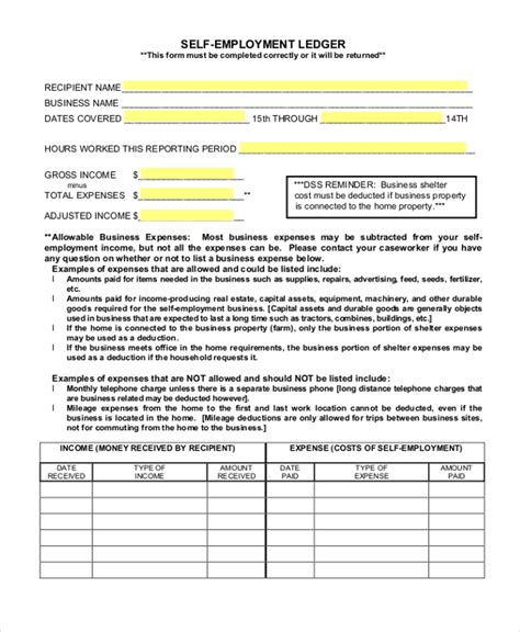 self employment ledger template sle self employment form 9 free documents in pdf