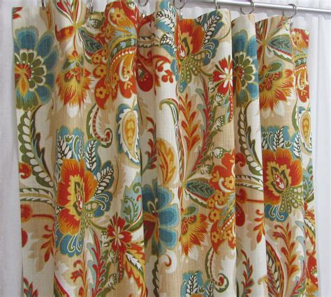 Aqua And Orange Curtains Aqua And Orange Curtains Orange And Aqua Astera Print Curtains Aqua Orange Medallion Curtains