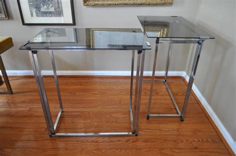 Modern Folding Table Mid Century Modern Chrome And Smoked Glass Folding Table