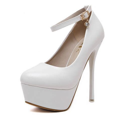 high heel pumps white platform ankle high heel pumps