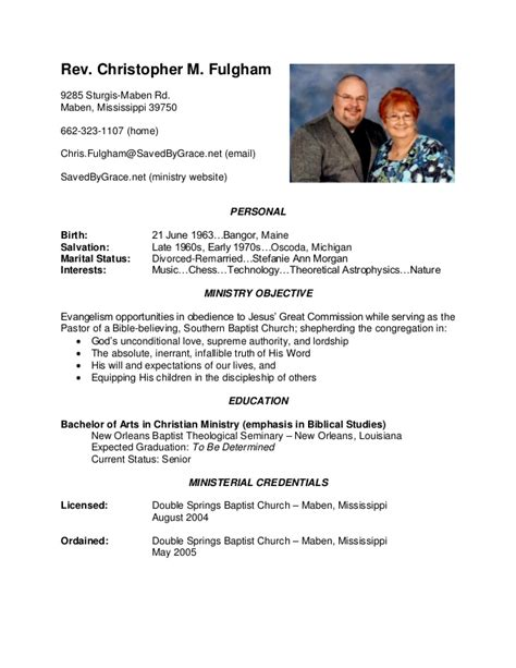 Ministry Resume Templates by Chris Fulgham Ministry Resume