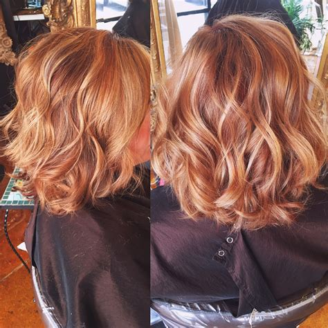 hairstyles copper blonde copper hair color with balayaged highlights hair by