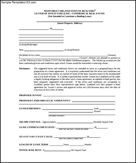Lease Letter Of Intent Exle Letter Of Intent To Lease Commercial Retail Space Sle Templates
