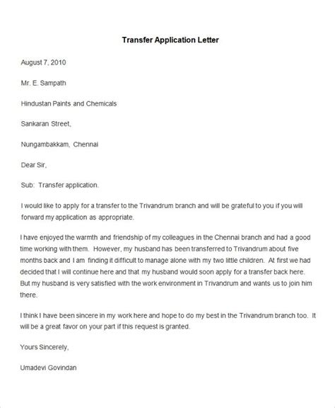 Transfer Application Letter In 55 Free Application Letter Templates Free Premium Templates