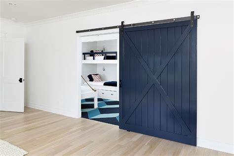 Blue Barn Doors Bedroom With Blue Shiplap Barn Door On Rails Cottage Bedroom