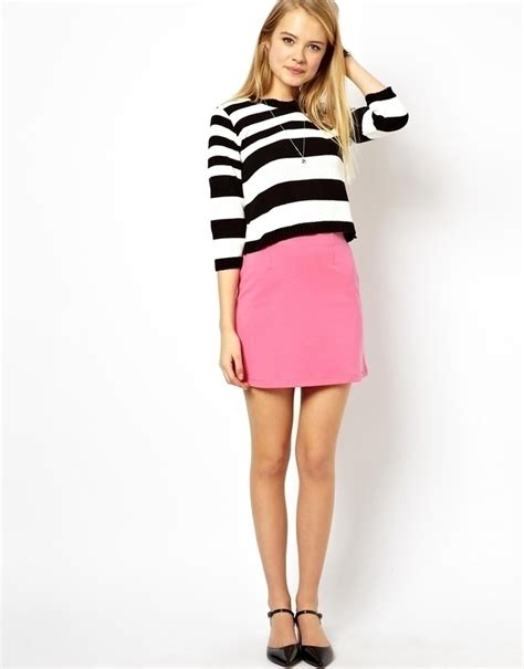 pink mini skirt asos a line mini skirt in ponte pink