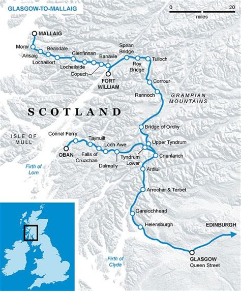 Caledonian Sleeper Route Map by Scotland Great Train Journeys West Highlands