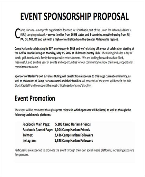 post event sponsorship report template 7 sponsorship exles sles