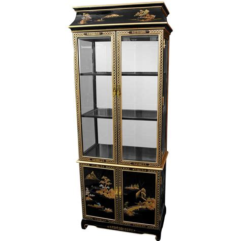 japanese black lacquer cabinet furniture black lacquer landscape ming pagoda top
