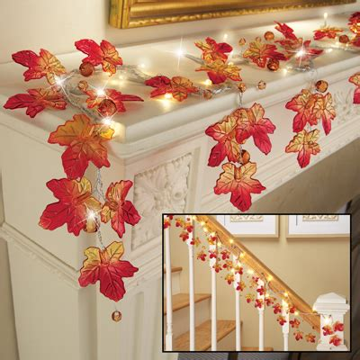 battery lighted fall garland lighted harvest maple leaf garland from collections etc