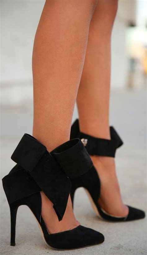 black high heels with a bow black big bow heels on the hunt