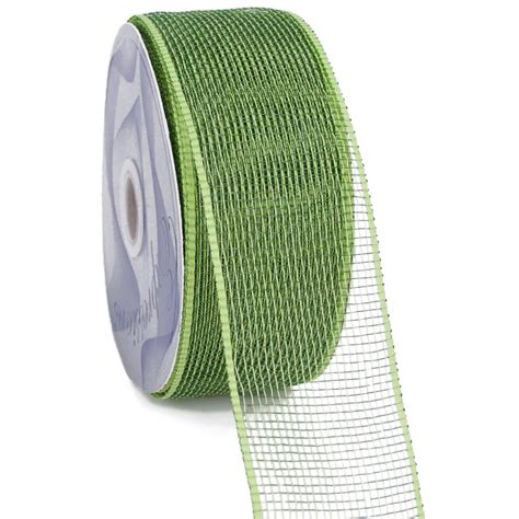Poly Apple 2 5 quot poly mesh ribbon apple moss rs2000e4