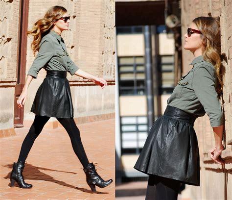 mireia mds h m leather skirt asos shirt