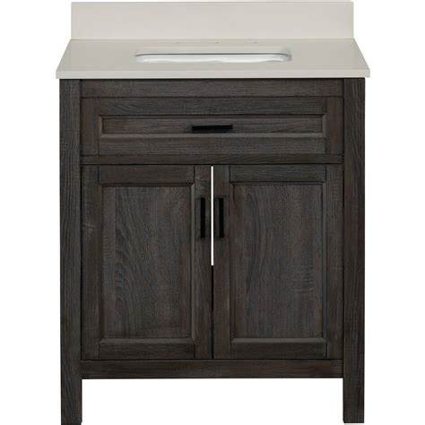 Bathroom Single Vanities Shop Living Durham Gray Single Sink Bathroom Vanity With Engineered Top Mirror