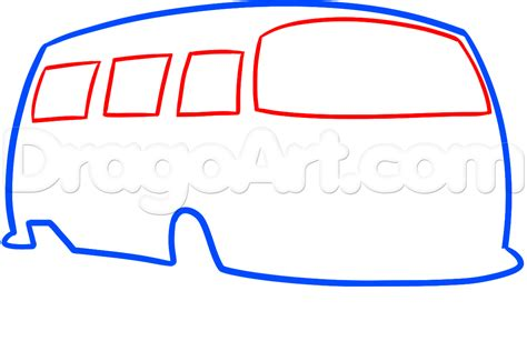 hippie van drawing how to draw a hippie van step by step trucks