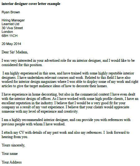 cover letter interior design manager interior designer cover letter exle learnist org