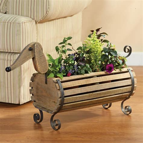 dachshund planter wooden dachshund weiner dog flower planter herb garden