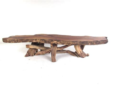Tree Slab Coffee Table Vintage Rustic Freeform Tree Slab Coffee Table For Sale At 1stdibs