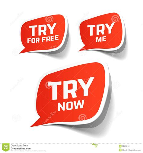Free For - try now try for free and try me speech bubbles stock