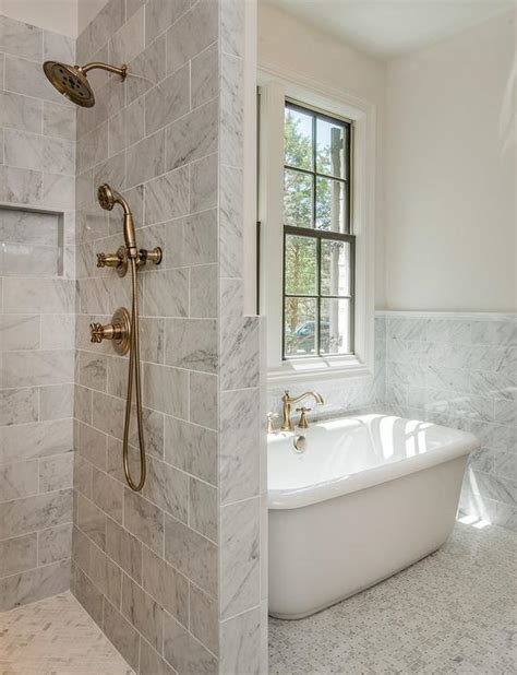 Bath Next To Shower by Gray Marble Bathroom With Shower Next To Tub