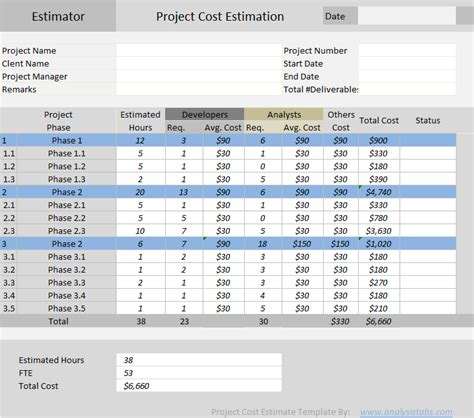 microsoft excel estimate template excel templates archives analysistabs innovating