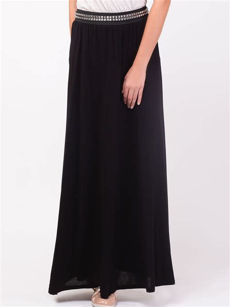 buy koovs jersey maxi skirt for s black maxi