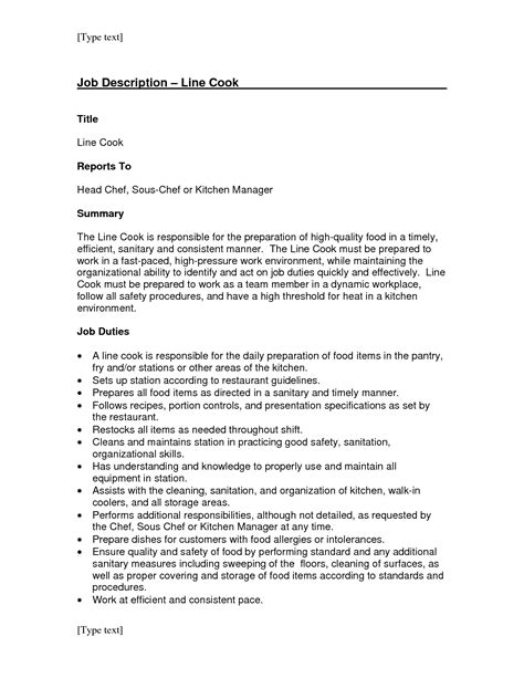 Resume Exles Descriptions line cook resume resume ideas