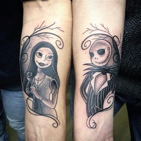 jack and sally couple tattoos 40 cool nightmare before tattoos designs