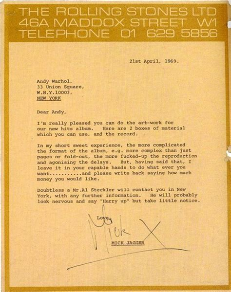 the times great letters notable correspondence to the newspaper books from the archives mick jagger s letter to andy warhol