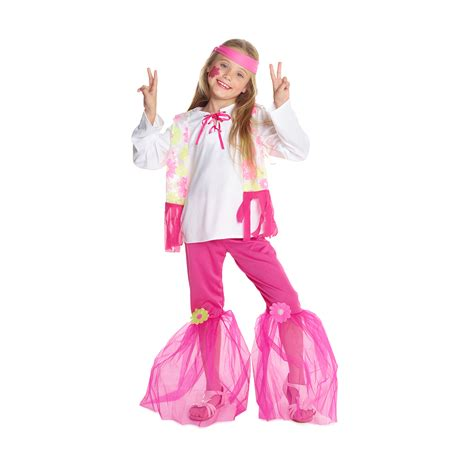 girls flower power hippie costume halloweencostumescom 1970s girls flower power pink hippie costume morph