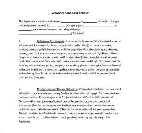 19 word non disclosure agreement templates free download