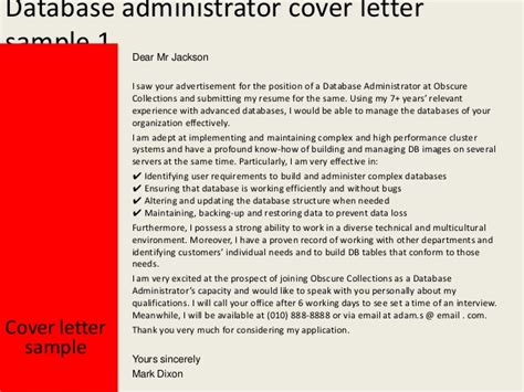 Database Administrator Cover Letter by Database Administrator Cover Letter