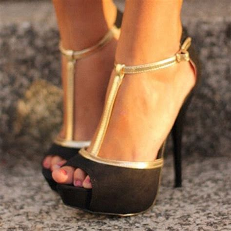 gold and black high heels shoes heels gold black peep toe t hold